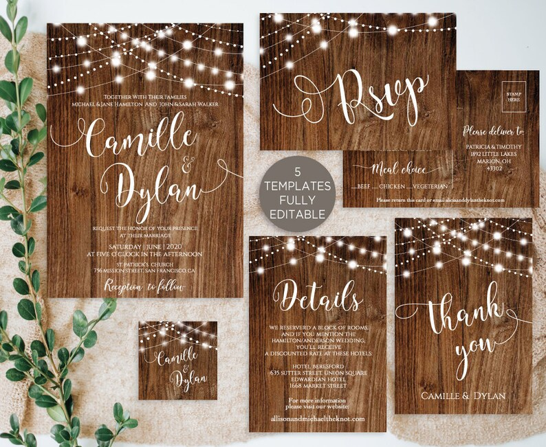 45520008f5531 Rustic Wedding Invitation Template Suite Editable, Country Boho Wedding,  Wood Bokeh String Lights Printable Instant Download SW100 TEMPLETT