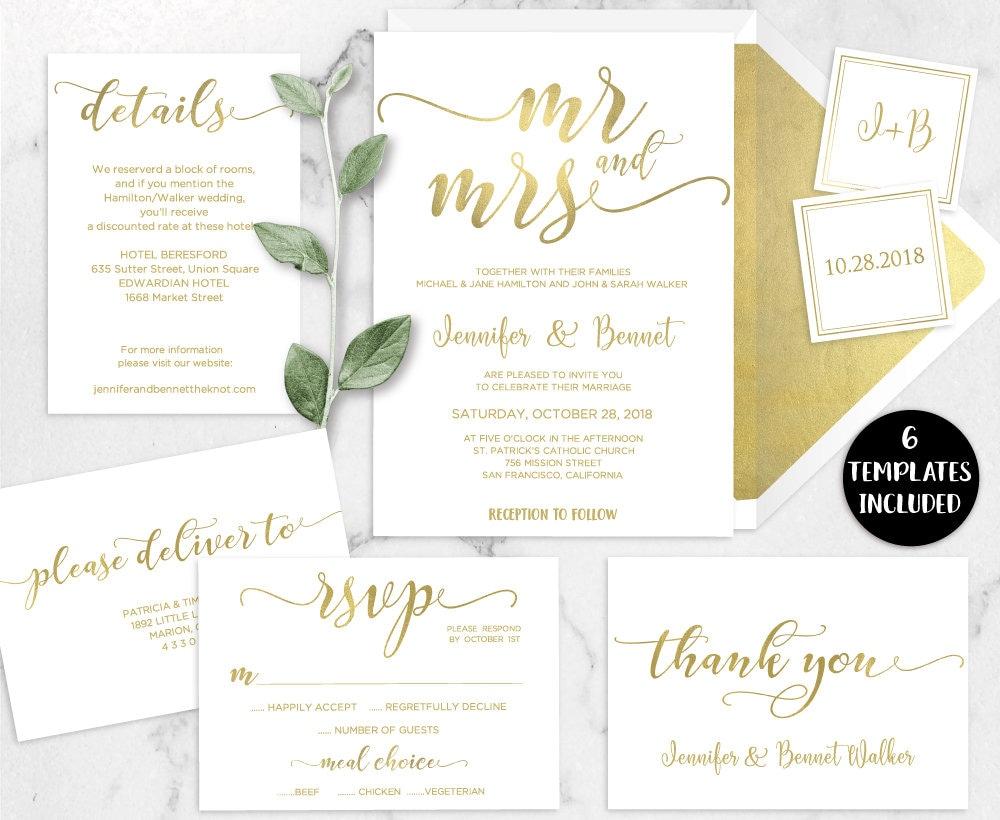 Mr And Mrs Wedding Invitation Wording: Mr & Mrs Wedding Invitation Template Printable Mr And Mrs