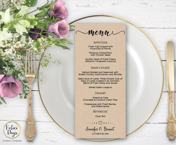 rustic wedding menu template elegant diy wedding menu etsy