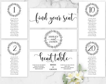 Rustic Wedding Seating Chart Template, Header Signs and Table Signs, Table Cards, Seating Card, Find your Seat, PDF Instant Download LW110