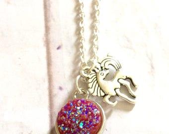 Girls sparkly unicorn necklace, unicorn gift, unicorn stocking filler necklace, silver chain sparkly silver unicorn charm, unicorn pendant,