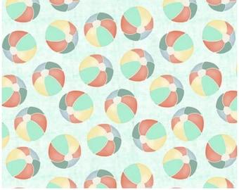 azure beige # 17340-TRQ 3 Wishes fabric coral white Beach ball cotton fabric