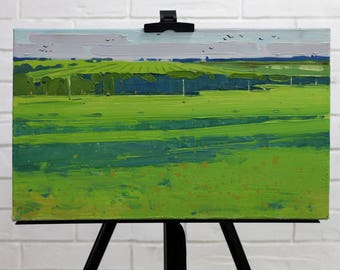 Summer fields painting Plein Air Painting landscape nature painting Oil on canvas Green Small painting art Home decor Original Gift for her
