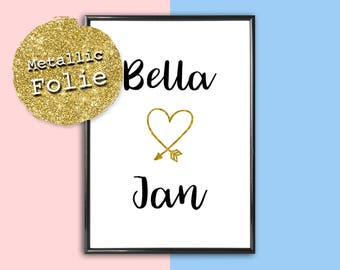 Personalized image name with a heart. Metallic foil