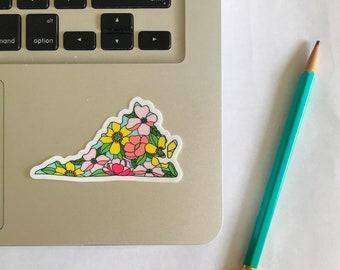Virginia Floral Vinyl Sticker | Laptop Sticker | Water Bottle | Gift Idea