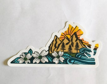 Virginia Mountains Vinyl Bumper Sticker | Laptop Sticker | Water Bottle | Gift Idea