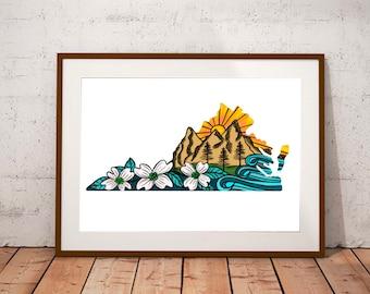 VA Mountains to the Sea Print 9x12