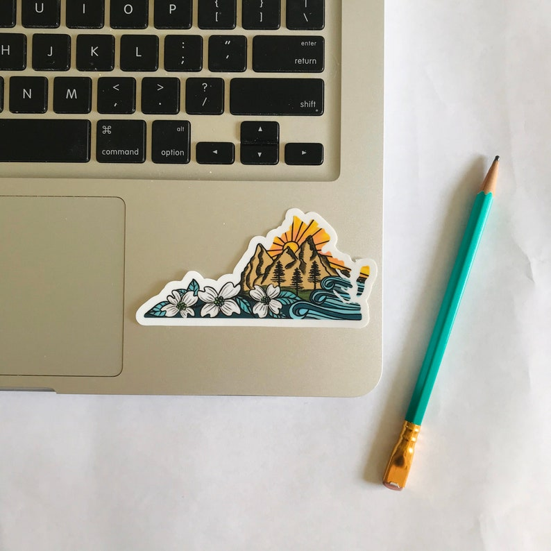Virginia Mountains Vinyl Sticker  Laptop Sticker  Water image 0