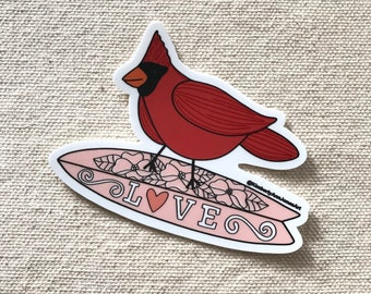 Cardinal Surfing Love sticker | Water Bottle | laptop