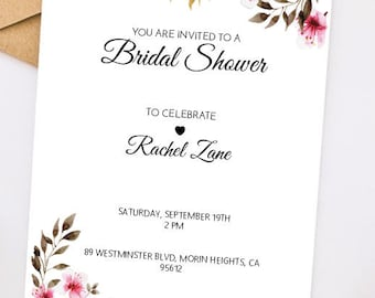 Printable Bridal Shower Invitations / Floral Shower Invites / Personalized Bridal Shower Invitations / Custom Invitations / Easy / Simple