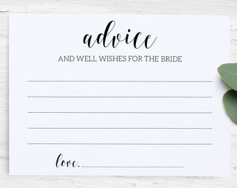 Advice For the Bride Printable / Advice Cards Bridal Shower / Well Wishes Cards for the Bride / Advice and Well Wishes for the Mrs PDF