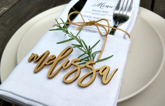 Gold Wedding Place Cards Name Cards Dinner Party Name Tags Etsy