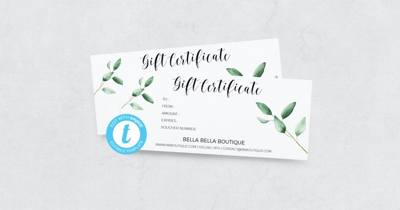 047f46f855219 DIY Editable Gift Certificate, Gift Certificate Template, Gift Certificate  Printable, Gift Certificate Instant Download, Greenery Gift Card