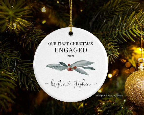 Keepsake Christmas Ornament Year Dated, Filled With Fun! Stocking 2021 Our First Christmas Engaged Ornament 2021 Engagement Gift Etsy