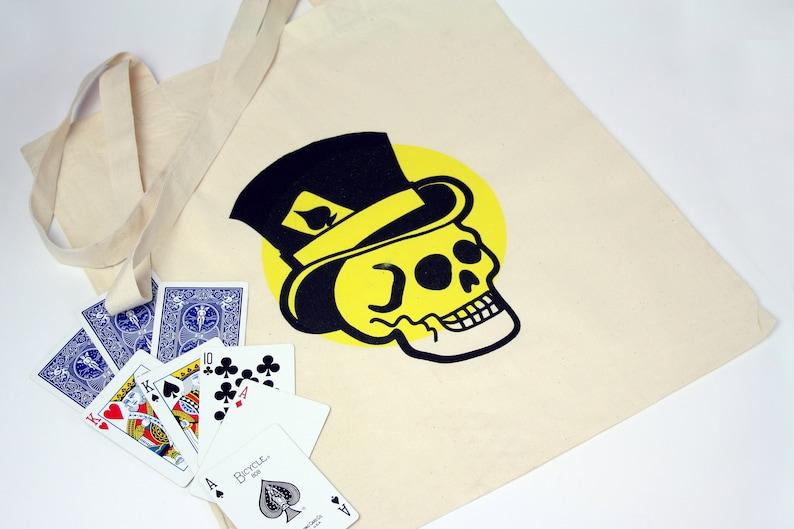 Cotton Tote Bag \u2022 Screen Printed \u2022 Handmade \u2022 Book Bag \u2022 Shopper \u2022 Reusable \u2022 Skull \u2022 Top Hat \u2022 Ace of Spades \u2022 Tattoo Design \u2022Graphic Print