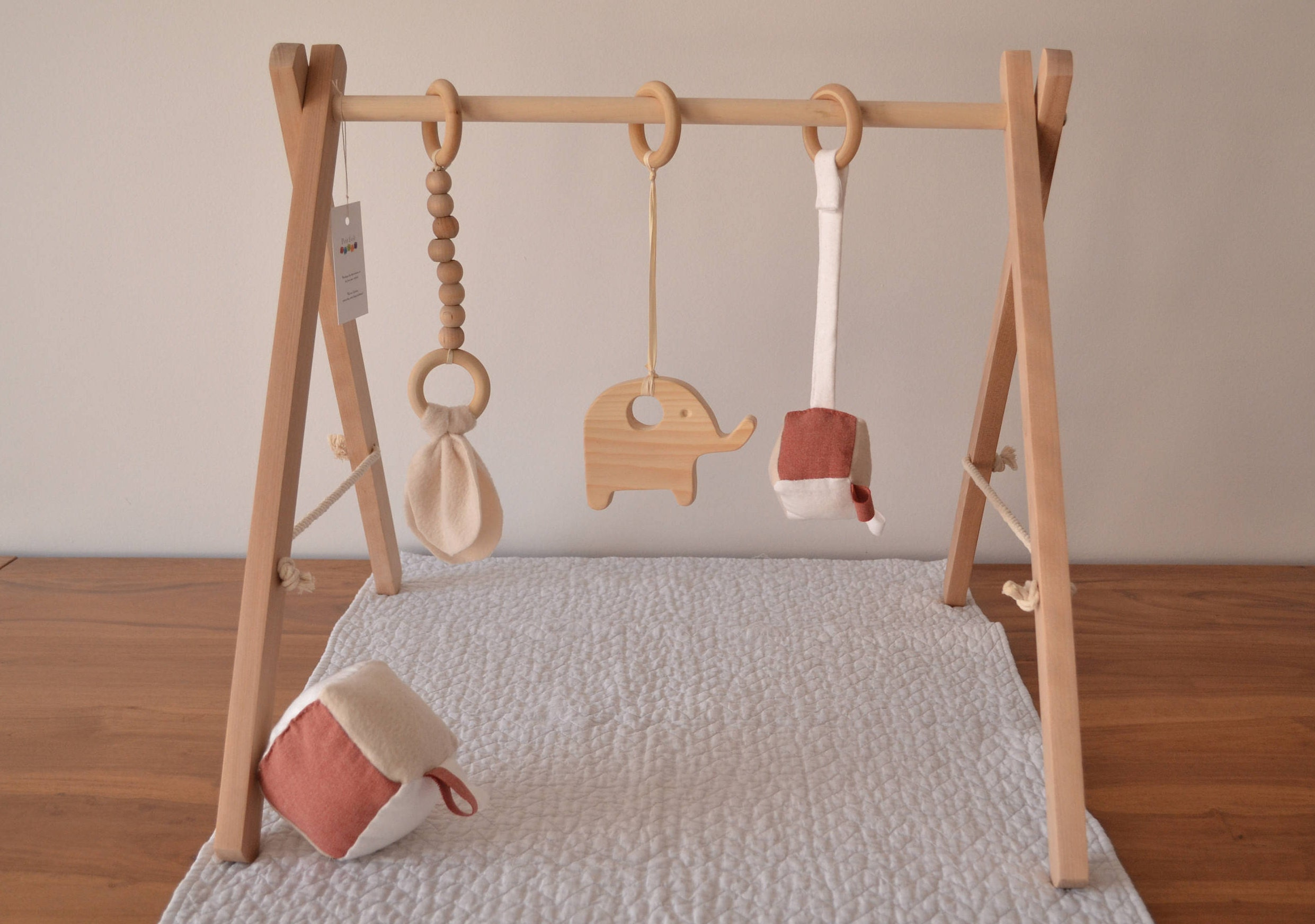 portique d 39 veil jeu en bois gym pour b b etsy. Black Bedroom Furniture Sets. Home Design Ideas