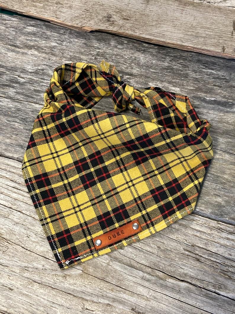 Dog Bandana Traditional Tie Dog Bandana Scarf Yellow Twill Plaid Dog Bandana Pet Accessories Personalized Leather Name Tag Bandanna