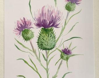 Purple Thistle Watercolor PRINT