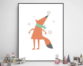 Fox Print, Fox Poster, Nursery Decor, Woodland Decor, Fox Nursery Wall Art, Children Prints, Animal Prints, Animals Nursery, Fox Wall Art