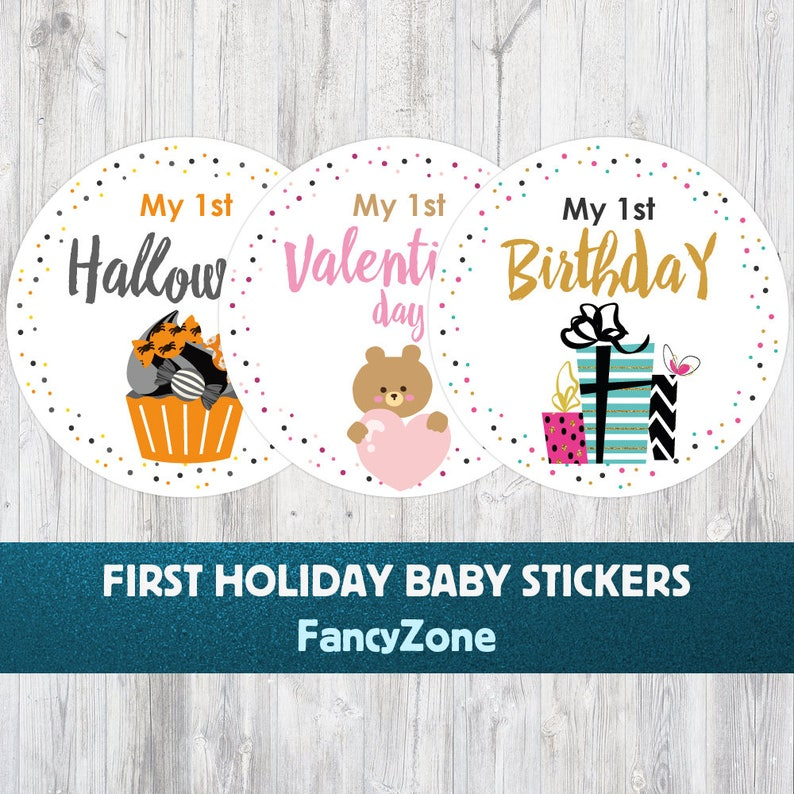 My First Holiday Belly Milestone Stickers Baby/'s First HolidayMy First Holiday