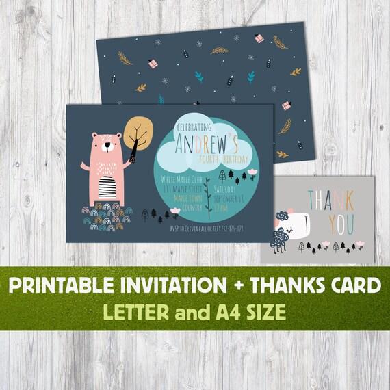 Animals Birthday Invitations Kid Invitation Card Thank You Etsy