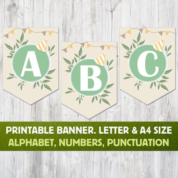 image regarding Printable Alphabet Banner called Printable Alphabet Banner: Letters A in direction of Z, Quantities and Punctuation. Bash Banner, Alphabet Bunting, Kid Shower Banner, Birthday Banner