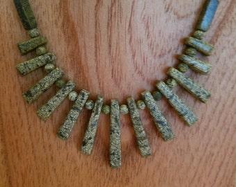 Russian serpentine fan necklace