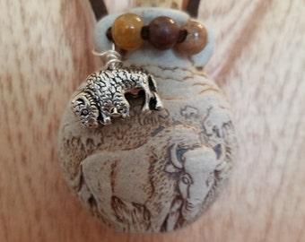 Buffalo bison raku potion bottle necklace