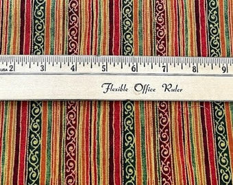 Beautiful striped fabric - India design - oranges, reds, greens and gold