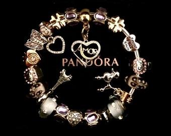 2efa0b8075ee6 Authentic Pandora Bracelet 925 Sterling Silver with 14k Gold Sterling  Silver Heart I Love Paris L AMOR LOVE