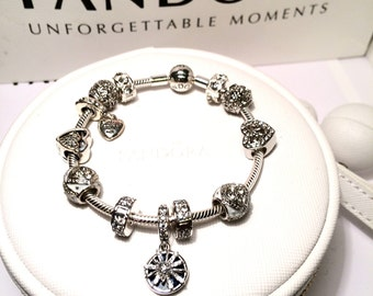 7c9086c14 Authentic Pandora 925 Sterling Silver Bracelet and Authentic Pandora Charms  Dazzling Wishes Comes with it's on Limited Edition Case RARE.