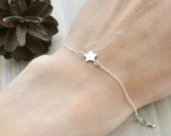 Tiny star bracelet Friendship bracelet Sterling silver bracelet Bridesmaid gift Dainty bracelet Delicate bracelet Simple dainty jewelry