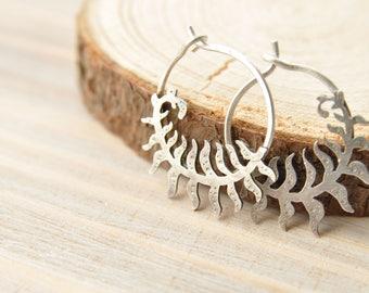 Silver fern earrings Silver Leaf Earrings Botanical jewelry Fern jewelry Nature earrings Leaf jewelry Light silver earrings Nature jewelry