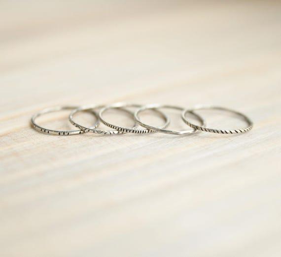 Silver Stacking Rings- set of 4- thin silver ring set thin modern rings simple ring set minimalist rings thin ring set dainty ring set