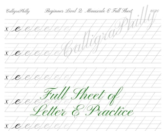 Beginner Level 2: Full Sheet of Lowercase Letter E Practice - Copperplate Lowercase Calligraphy Alphabet Worksheet Practice Digital Download