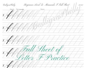 Beginner Level 2: Full Sheet of Lowercase Letter F Practice - Copperplate Lowercase Calligraphy Alphabet Worksheet Practice Digital Download