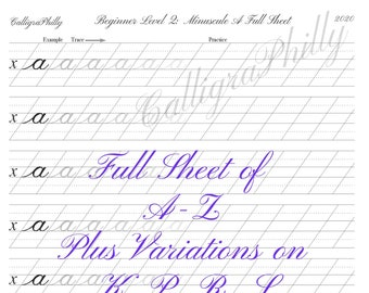 NEW! Beginner Level 2: DELUXE Lowercase Copperplate Calligraphy Alphabet Worksheet with Letter Variations on K, P, R, S- Digital Download
