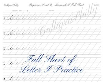 Beginner Level 2: Full Sheet of Lowercase Letter I Practice - Copperplate Lowercase Calligraphy Alphabet Worksheet Practice Digital Download