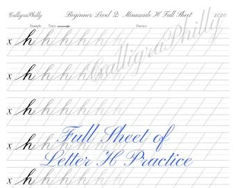 Beginner Level 2: Full Sheet of Lowercase Letter H Practice - Copperplate Lowercase Calligraphy Alphabet Worksheet Practice Digital Download