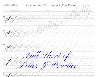 Beginner Level 2: Full Sheet of Lowercase Letter J Practice - Copperplate Lowercase Calligraphy Alphabet Worksheet Practice Digital Download