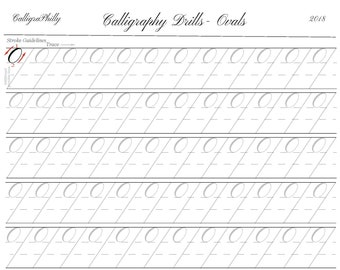 Beginner Level 1- Full Sheet of Ovals Practice - Copperplate Calligraphy Practice Drills - Digital Download PDF