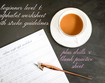 Beginner Level 1- Copperplate Calligraphy Worksheet Set: Includes Drills Worksheet, Alphabet Worksheet, Guidelines & Blank Practice Sheet