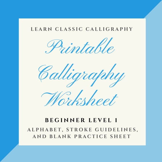 photo relating to Copperplate Calligraphy Alphabet Printable called Rookie Issue 1- Copperplate Calligraphy Alphabet Worksheet with Stroke Suggestions Blank Teach Sheet- Electronic Down load Worksheet