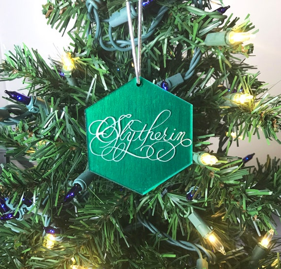Slytherin Acrylic Christmas Ornament Harry Potter Christmas Ornament Calligraphy On Acrylic Handpainted Hogwarts House Colors
