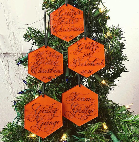 set of three gritty christmas ornaments philadelphia flyers etsy