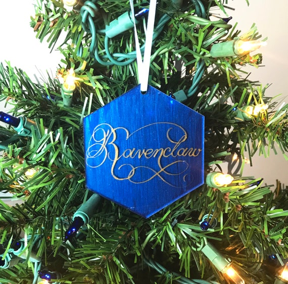 Ravenclaw Acrylic Christmas Ornament Harry Potter Christmas Ornament Calligraphy On Acrylic Handpainted Hogwarts House Colors
