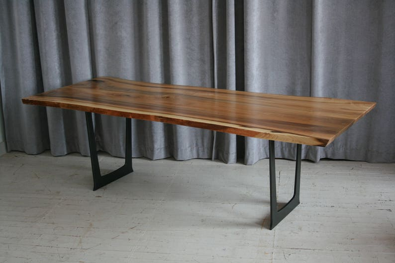Reclaimed Wood Dining Table Trestle Style with Metal Legs ...