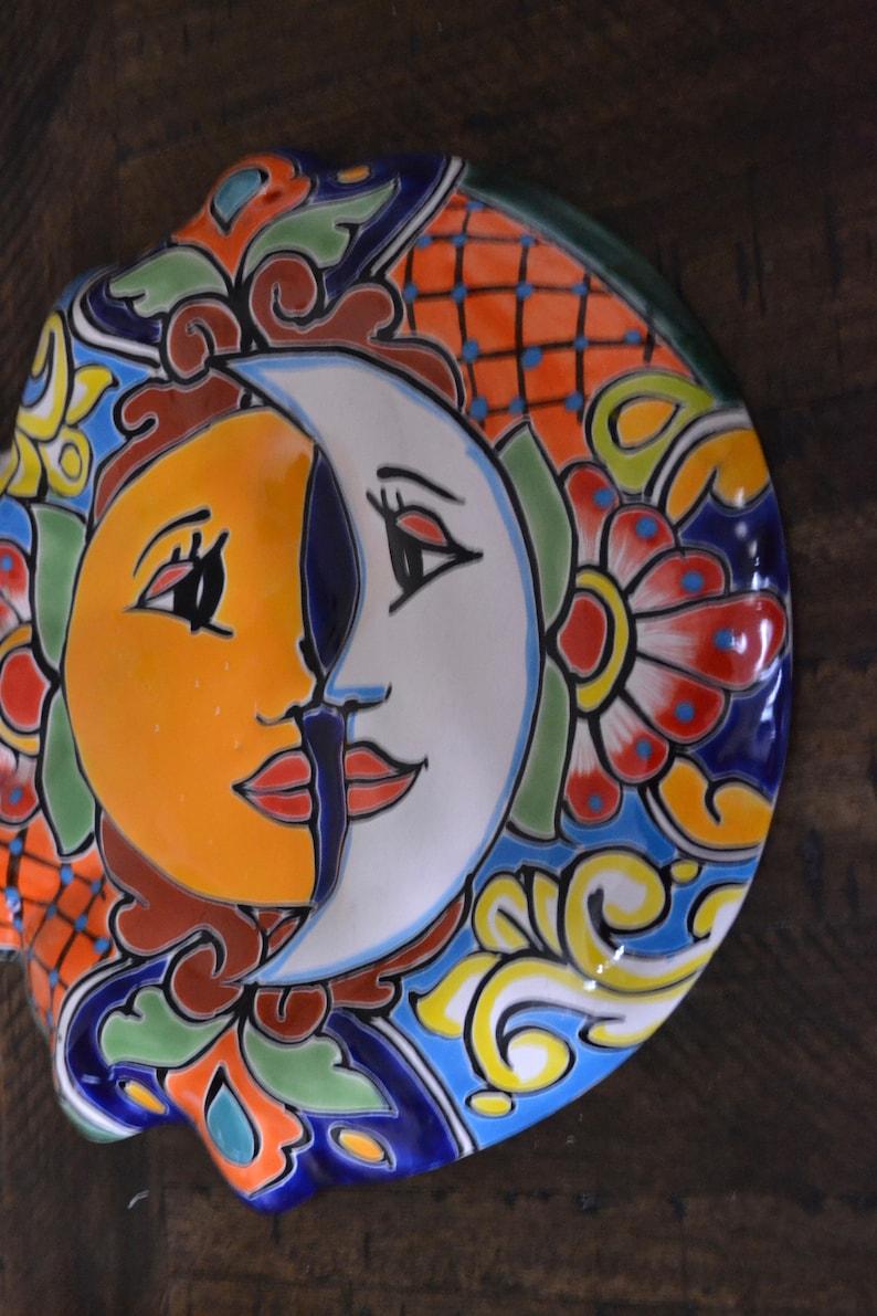 Talavera wall sun and moon talavera eclipse  sun and moon  Mexican pottery sun and moon garden sun and moon  talavera sol y luna