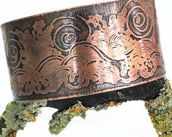 Wide Copper Cuff - Textured Cuff Bracelet - Wave Etched Cuff - Wide Copper Bracelet - Ocean Wave Cuff - Wave Jewellery - Wave Bangle