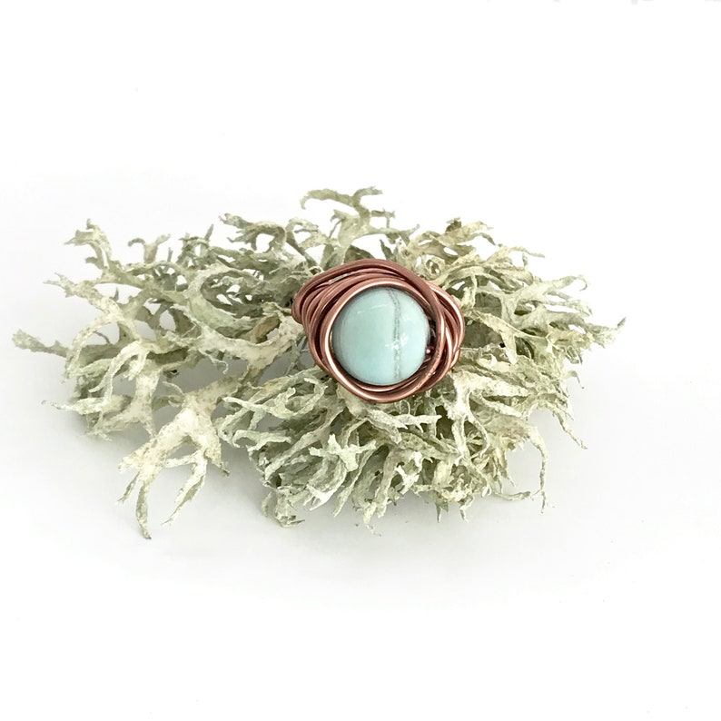 Mother/'s Day Gift Good Karma Jewellery Blue Aventurine Ring Copper and Blue Ring Wire-Wrapped Ring Blue Stone Statement Ring